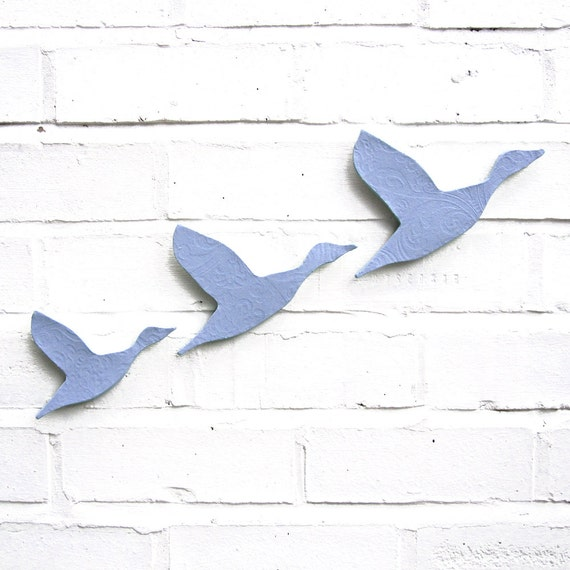 Ceramic wall art Flying ducks set of three Wedgwood pale baby blue Pottery birds Home decor wall ornaments Modern classic retro silhouette