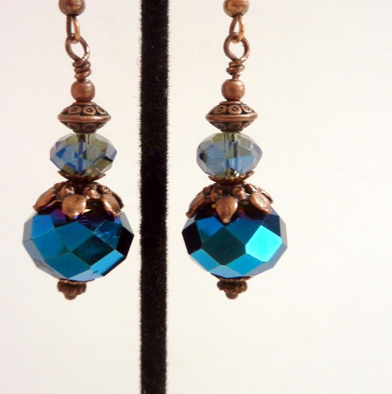 Blue Copper Earrings, Blue Rainbow Copper Vintage Inspired Glass Beaded Earrings