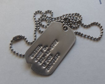 Single Notched Dog Tag Genuine Military Issue With Ball Chain