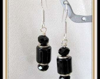 Black Agate Earrings, Gemstone Earrings, Black Earrings,  Beaded Earrings, Dangle Earrings,Drop Earrings, Surgical Steel Earwires Item #844