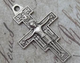 Vintage Italian San Damiano Cross Crucifix, Saint Francis Of Assisi Romanesque Religious Medal, Catholic Necklace Pendant, Holy Medallion
