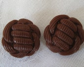 Set of 2 VINTAGE Brown Plastic Sewing BUTTONS