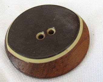 Large VINTAGE Layered Plastic on Wood BUTTON