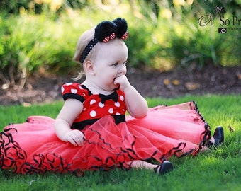 MINNIE MOUSE dress TUTU  Party Dress  in Red Polka Dots super twirly  dress 1st Birthday party