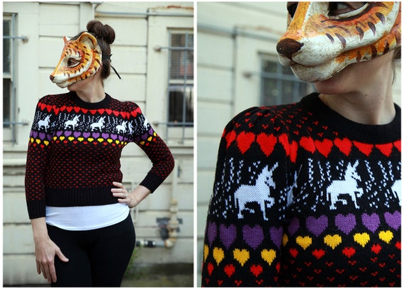 Vintage 80s Sweater with Unicorns and Hearts and Puffy Shoulders - sz S