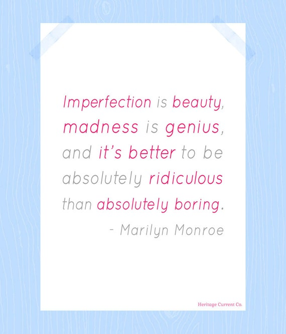 Imperfection is Beauty Marilyn Monroe Printable Digital Print 5 x 7 Pink Gray Quote Print