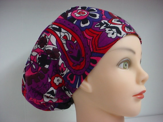 Womens Less Is More (LIM) Scrub Hat Chemo Chef Cap Hot Pink Black Meander