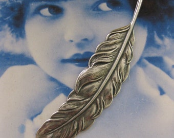 Silver Ox Plated Quill Feather Stamping Bent or straight 1019SOX x1
