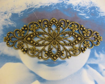Brass Ox Plated Ornate Floral Filigree great for bracelets 2107BOX x2