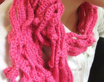 NEW Crochet Scarf Pattern - Curly Vines crochet pattern, permission to sell- made in Chains and SC stitch
