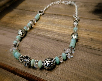 Bubbles, Western Cowgirl Southwestern Amazonite & Crystal Stone Necklace