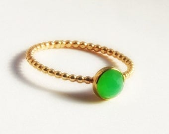 Dainty Jewelry, Rose Cut Chrysoprase Ring, Dainty Stackable Gold Ring, Dainty Gold Stacking Ring, Size 3, 4, 5, 6, 7, 8, 9, 10