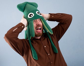 Fleece Squid Hat - Medium Green Plush