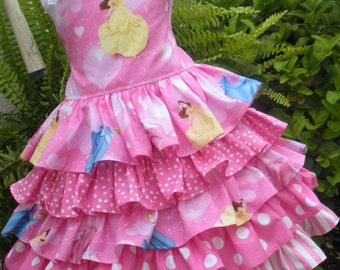 Made to Order Custom Boutique Disney Princess 5 Ruffle Dress Girl 2 3 4 5 6 7 8 Pink