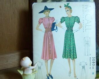 McCalls 1938 Dress Pattern 3080  Uncut Sz 14 Bust 32