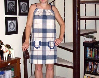 Vintage cream, navy, and maroon plaid dress - small/medium