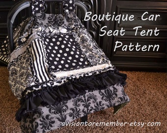 Boutique Car Seat Canopy Sewing Pattern, Rag Quilt, Baby Blanket, Ruffled Instant Download, PDF - Carseat Tent Quilt Pattern for Baby