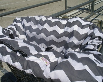 High Chair Cover Shopping Cart cover  for boy or girl.....Large Chevron in Gray
