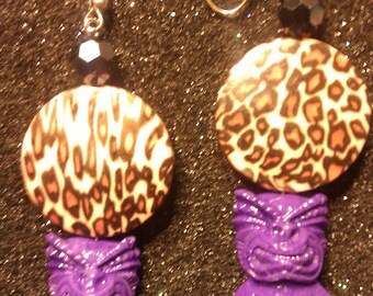 Tiki earrings, purple, purple tiki, tiki culture, hawaii, tiki, polynesian, tiki wedding, ocean,  tropical, beach wedding,leopard print
