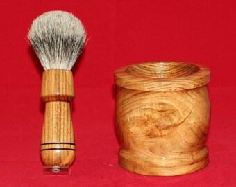 Hand turned black locust shaving brush and mug set