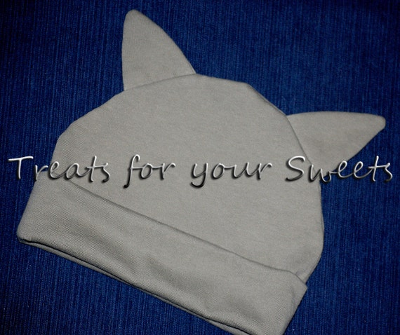Personalized Organic Cotton Beanie Hat with ears in Sage 0 - 12 months SALE