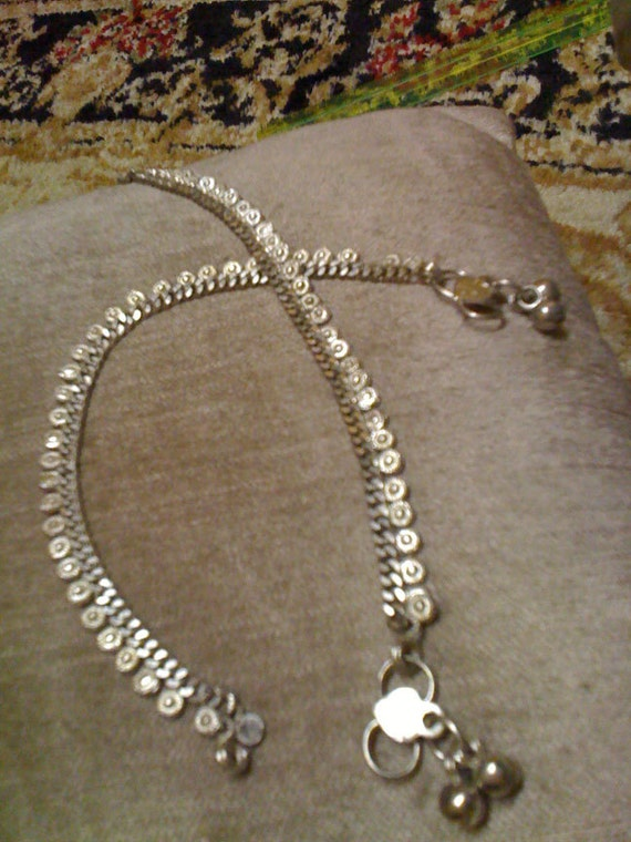 Classic Tiny Silver Discs - Anklet single or pair