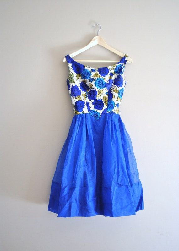 50s silk dress // rose print silk bodice royal blue organza // vintage 1950s silk dress