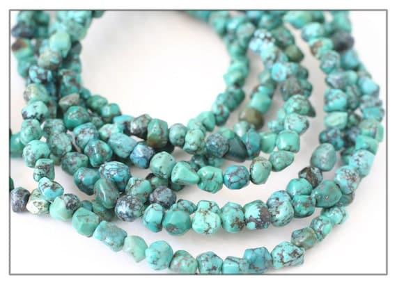 """Tibetan Turquoise nugget beads - untreated Turquoise bead strand - 3-4 mm hand cut nugget beads - natural aqua blue stone - 16"""" full strand"""