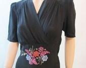Vintage 40's Black Rayon Beaded Dress