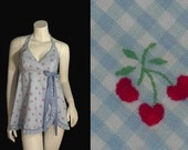 CHERRY Novelty Print Vintage Gingham Rockabilly Flocked HALTER Swimsuit - FastEddiesRetroRags