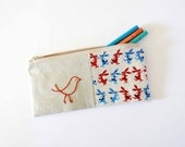 red and blue bunnies with bird school pencil case