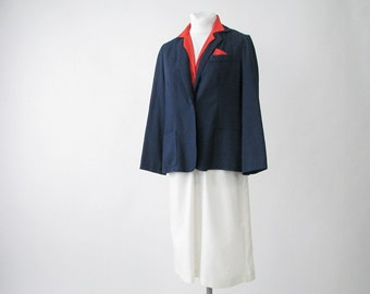 Vintage 1980's Red, White and Blue Secretarys Dress and Jacket, Modern Size 8, Small