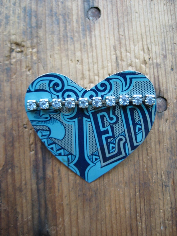 Vintage Edgeworth Heart Tin Brooch, Recycled, Repurposed, Gifts under 15, Gfits for her, Affordable Jewelry