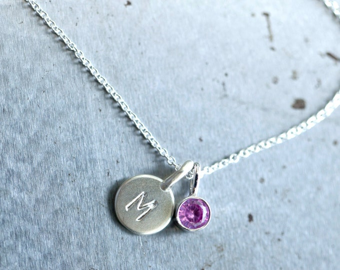 Sterling Tiny Initial and Birthstone Necklace - Silver Letter and Gemstone Pendant