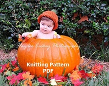 Simple Pumpkin Roll Brim Hat Knitting Pattern in 5 Sizes, PDF Number 132 -- Permission to Sell Hats -- Over 35,000 patterns sold