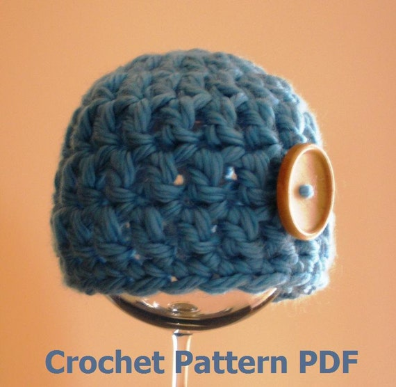 Crochet Patterns Chunky Yarn : Chunky Baby Beanie Hat Crochet Pattern PDF 207 -- INSTANT DOWNLOAD ...