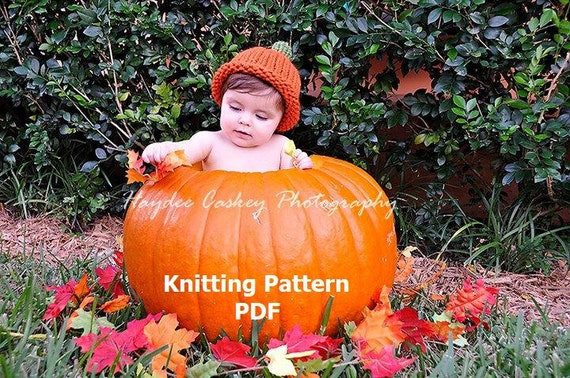Simple Pumpkin Roll Brim Hat Knitting Pattern in 5 Sizes, PDF Number 132 -- Permission to Sell Hats -- Over 16,000 patterns sold