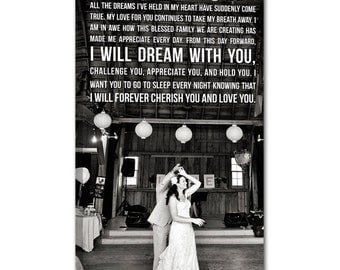 Personalized Vintage Glam Style Art using your Wedding photos or Vows or Lyrics 12x16
