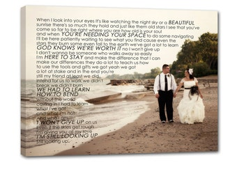 Gift Wedding Canvas Print, Your wedding vows on canvas Typography Canvas Wall Hanging  24X36