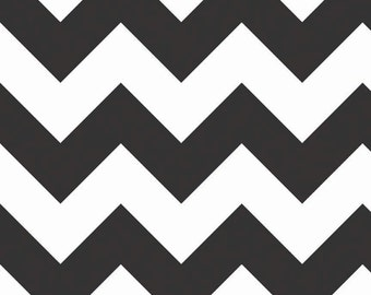 CLEARANCE!!  Riley Blake Designs, Large Chevron in Black (C330 110) - 1 yard