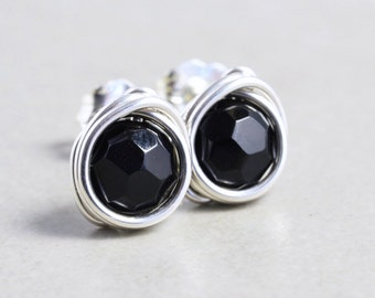 Black Onyx Posts, Black Sterling Silver Studs, Black Post Earrings