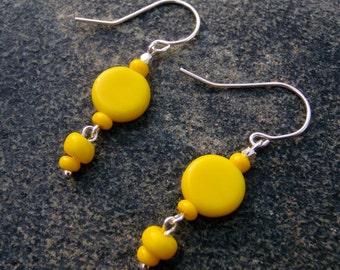 Bright Yellow Beaded Earrings