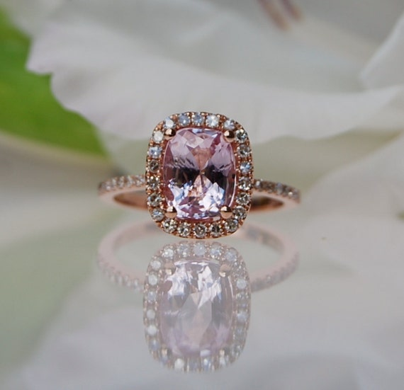 2.3ct cushion Peach sapphire Champagne sapphire ring diamond ring 14k rose gold Engagement ring