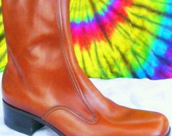 9 B mens vintage 60's-70's FLORSHEIM brown leather ankle zipper beatle boots NOS