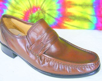 9 N mens vintage 80's brown leather STACY ADAMS penny loafers shoes NOS narrow
