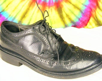 7.5 D mens vintage black leather DEXTER wing-tip longwing oxfords shoes