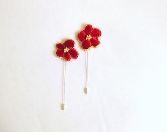 Hat shawl pin red velvet chunky fabric flower 5 inch Danish