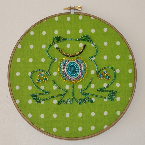 Reserved For Barb  - Bead Embroidered Frog Prince 3-D Wall Art