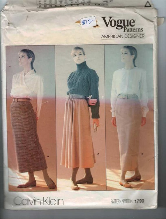 1980s Vintage Sewing Pattern 1790 Calvin Klein Designer Slim Pencil Gathered Long Skirt Size 14 Waist 28 1986 80s