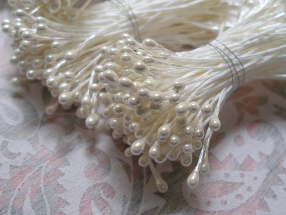 100 Double Ended Ivory Pearl Flower stamens bunches hand made for flower center